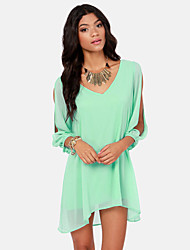 Women's Sexy/Beach/Casual/Party/Plus Sizes Long Sleeve Loose Dress