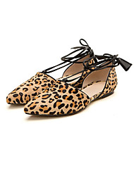 Women's Shoes Fur Flat Heel Ankle Strap/Pointed Toe Flats Wedding AnimalPrint