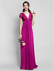 Lanting Bride® Floor-length Jersey Bridesmaid Dress - Sheath / Column V-neck Plus Size / Petite with Lace