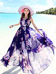 Women's Sleeveless Bohemian Maxi Swing Holiday Dress