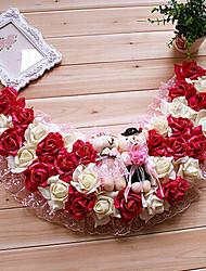 """19.7 """"estilo rural rojo de la rosa blanca guirnalda de flores de simulación con el juguete lleva plástico semi-círculo guirnalda"""