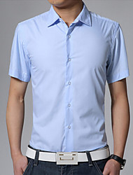 Men's Short Sleeve Shirt , Cotton/Polyester Casual/Plus Sizes Pure