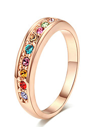 T&C Women's 18k Rose Gold Plated Top Class Small Pcs Colourful Rhinestones Studded Eternity Wedding Ring