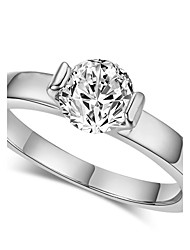 T&C Women's Concise Classic Cubic Zirconia Cz Diamond 18k White Gold Plated Ring with Austrian Crystals