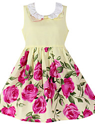 Girl's Floral Sundress Belt Party Birthday Cute Princess Dresses(100% Cotton)