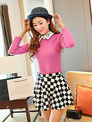 Women's Black and White Grid Print Opaque Above Knee Skirts (Cotton)