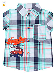 Ajiduo 1-6Y Kids Boys Car Letter Print Toddler Cotton Casual Short Sleeve Plaid Shirt