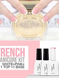 Azure 4Pcs/Lot Soak Off Nail Gel French Manicure Nail Polish(12ml, Pink+White+Base+Top)