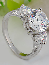 High Quality Fashion Women Platinum 10 KT Three Round Diamond Drill Zircon Ring