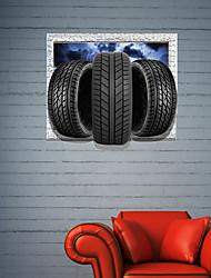 3d autocollants muraux stickers muraux, pneus décoration salle de bain murale pvc stickers muraux