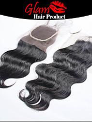 """8 """"-18"""" brésilien vague de corps vierge fermeture de cheveux # 1b séparation sans poils différentes longueurs 4 """"x4"""" taille de la dentelle ms lula"""