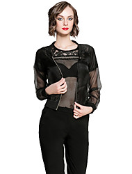 Plus Size 2015 Spring Summer New Arrival Women Jacket Long Sleeve See-Through Organza Thin Short Jacket for Women