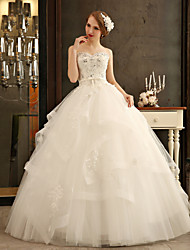 Ball Gown Wedding Dress - Ivory Floor-length Sweetheart Tulle/Charmeuse