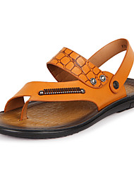 Men's Shoes Casual Leather Sandals Brown/Yellow
