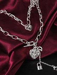 Women's Hot Style  European Fashion  Simple  Love Lock   Silver-Plating  Necklace