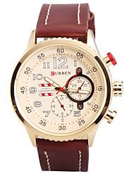 Man's Quartz Wrist Watch Round Dial Fashion PU Leather Strap (Assorted Colors) Cool Watch Unique Watch