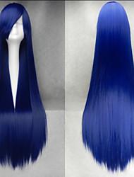 venda quente 40 polegadas de fibra de alta temperatura a longo tinta azul cosplay reta estrondo lado peruca traje