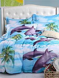 la taille de la reine de mingjie dauphins bleu mer 6d ensembles de literie et plein linge de lit de taille de la Chine ensembles de