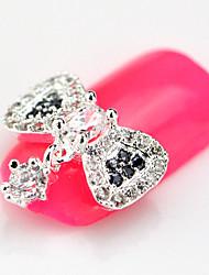 10PCS RG040 Bowtie with Chain Luxury Zircon 3D Alloy Nail art Decoration Diamond Nail Salon Supplier DIY Accessories