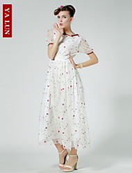 Yalun™  Hot Sale!Women's Casual Slim Print Chiffon Maxi Dress