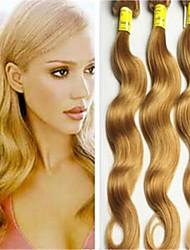 """3pcs / lot brasileña virginal del pelo humano 8 """"-34"""" miel de oro rubia extensión del pelo onda del cuerpo que teje la trama del pelo"""
