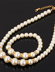 TopGold High Quality Synthetic Pearl Beads Choker Necklace Bracelet Bangle Set SWA Rhinestone Jewelry Gift for women