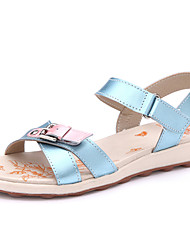 Women's Shoes Leather Flat Heel Peep Toe/Comfort Sandals/Flats Casual Blue/White/Beige