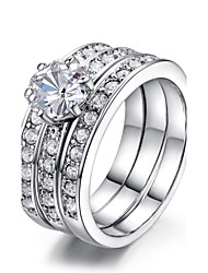 HKTC 18K White Gold Plated Classic Stack 3 Paved Bands CZ Stone Wedding Ring