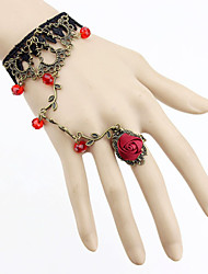 Vintage Gothic Style Lace Rose Adjustable Ring Bracelet Christmas Gifts