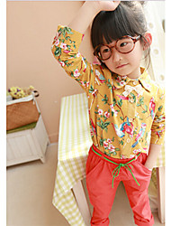 Girl's Fashion Floral Print Long Sleeve Shirts(More Colors)