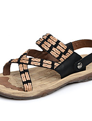 Men's Shoes Outdoor Leather Sandals Black/Beige
