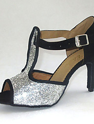 Customized Latin Women's Sandals Sparkling Glitter Dance Shoes