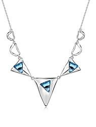 todas partes collar corto plateado con 18k verdadera aguamarina platino cristalizó piedras de cristal austríaco