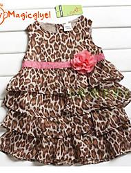 Girl's Summer Sleeveless Leopard Layered Chiffon Princess Dresses(Chiffon + Cotton)
