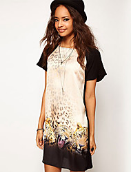 2015 New Fashion Summer Dress Short Sleeve Leopard Heads Printed Casual Chiffon Dress