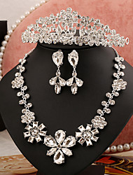 2015 upscale bridal dress accessories necklace earrings three-piece crown crystal tiaraBY-SET0008
