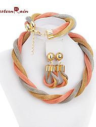 WesternRain African Costume Jewelry Gold Plated Twisted Chain Necklace And bracelet/Chunky  Big Fashion Jewelry Set