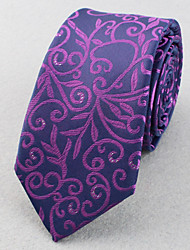 Cravates (Violet/Rouge/Argenté , Polyester) Rayures/à Chevrons/Motif/Taches/Free Form