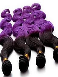 3Pcs/Lot Ombre Purple Body Wave Brazilian Virgin Hair Products Weave Human hair Extensions