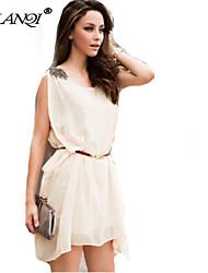 PROMOTION Women's shoulder with irregular Chiffon Dress