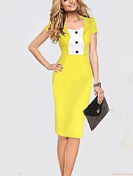 Damen Kleid Knielang Baumwolle/Elasthan/Polyester Kurzarm Gekerbtes Revers