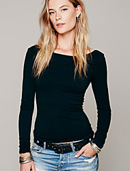 Women's Simple Sexy Backless All Match Long Sleeve Slim T-shirt
