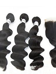 "4pcs lot 10 ""-28"" extensiones de cabello humano peruano de moda de cabello natural onda floja negro con cierre 6a remy grado del pelo"