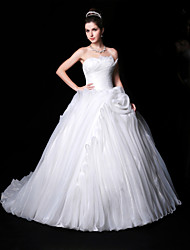 Ball Gown Wedding Dress - White Chapel Train Sweetheart Organza/Charmeuse