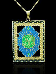 18k реальное позолоченные Аллах мусульманских шкентель цвета 4,5 * 7,1 см