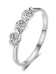 T&C Women's 18K White Gold Plated 0.25ct * 3 Pieces Zirconia Diamond Ladies Jewellery Rings
