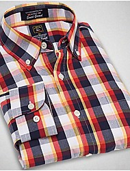 U&Shark New Hot! Men's Soft Business 100% Cotton Long Sleeve Shirt with Red Yellow Black White Check/MSX003