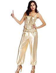 Unitards Women's Polyester Elastic Woven Satin Champagne