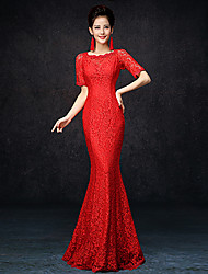 Formal Evening Dress Trumpet / Mermaid Jewel Floor-length Lace with Lace