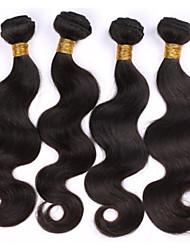 "4 unidades / lote 10 ""-28"" corpo cabelo sexy vedar beleza do cabelo brasileiro extensões de cabelo humano real onda sem cabelo virgem"